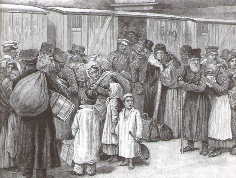 """Expulsion of Jews of St. Petersburg: Scene at Baltic Railway Station."" Engraving by D. Naumann after a sketch by B. Baruch, n.d. (Moldovan Family Collection)"