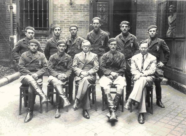 Ze'ev Jabotinsky (front row, center) with a group of Betar motorcyclists in Paris (1934)