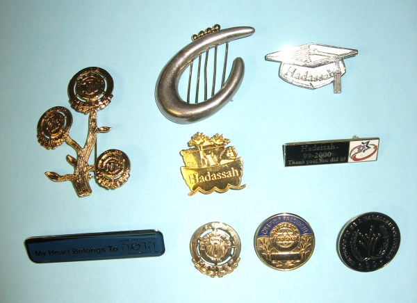 Lise's Hadassah pins. Some are for donations, some for service.