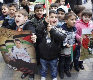 "The children shouted: ""In spirit, in blood, we'll redeem you oh prisoner!"" -- courtesy Palestinian Media Watch"