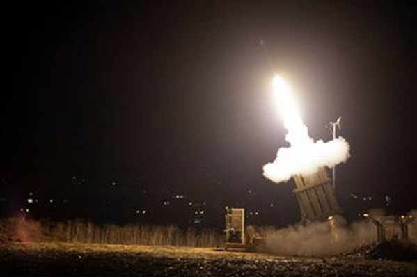 Iron Dome anti-missile system fires interceptor at Hamas rocket.