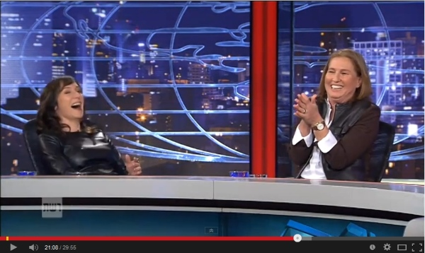 "Tzipi Livni (r) breaks up during a remarkably rude and vulgar performance on Israeli TV show ""Matzav Ha'uma."" She has just used an Arabic expression meaning ""your mother's genitals"""
