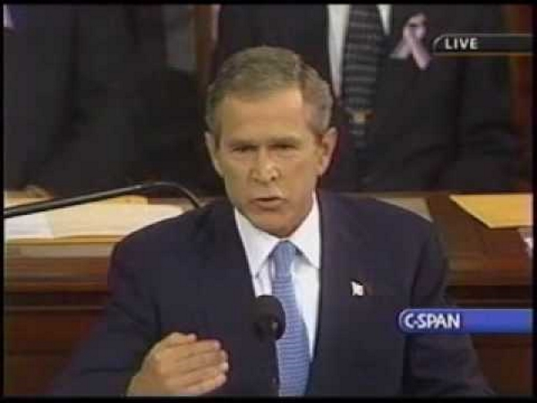 President George W. Bush speaks to Congress, Sept. 20, 2001. He said the right things, but failed to do them.