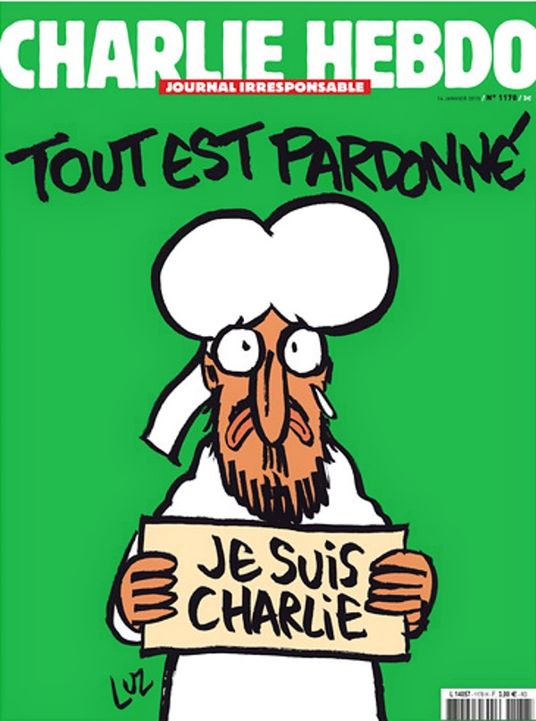 """Everything is forgiven."" But is it? Cover of Charlie Hebdo magazine published today."