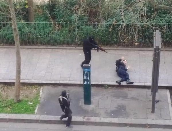 Islamist terrorists finish off wounded policeman.