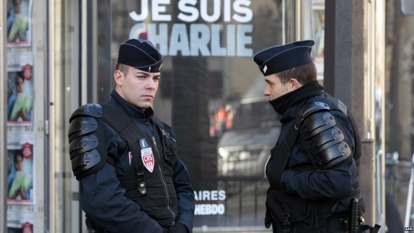 French police officers at rally site in Paris. BBC reports that about 2000 police and 1350 soldiers will be present for the massive rally that will be held today.