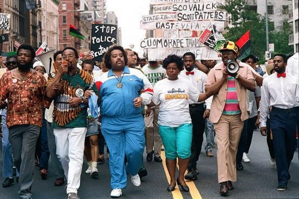 Agitator Al Sharpton (yes, that's him in the blue track suit) leads march protesting the alleged rape of Tawana Brawley in 1987.
