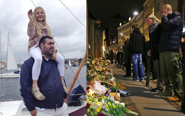 L: Dan Uzan (with niece Karoline), 37-year old volunteer guard murdered at Copenhagen synagogue. R: memorial to victims of terrorist shootings at cafe and synagogue.