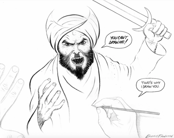 "Bosch Fawstin's winning entry in the ""Draw Muhammad"" contest in Garland, Texas"