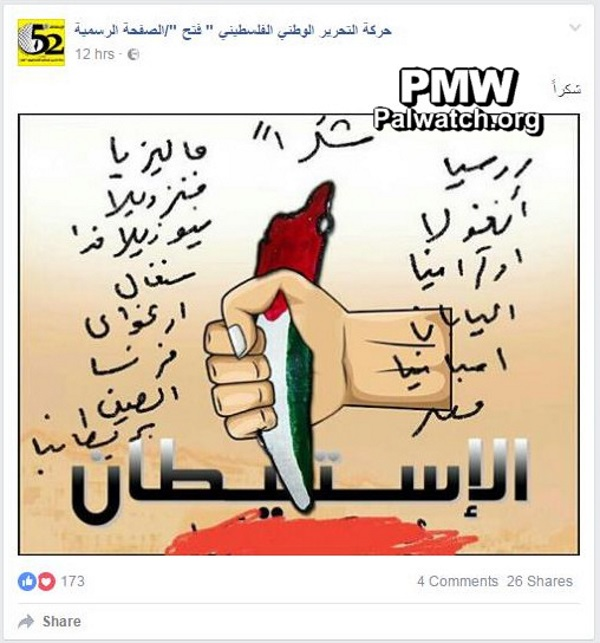 A cartoon posted by Mahmoud Abbas' Fatah party, which bloodily thanks the 14 nations that voted for UNSC resolution 2334.