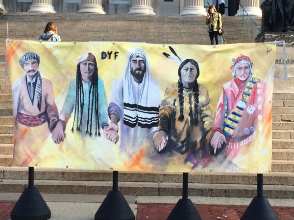 """Hebrew Liberation"" banner at Columbia University."